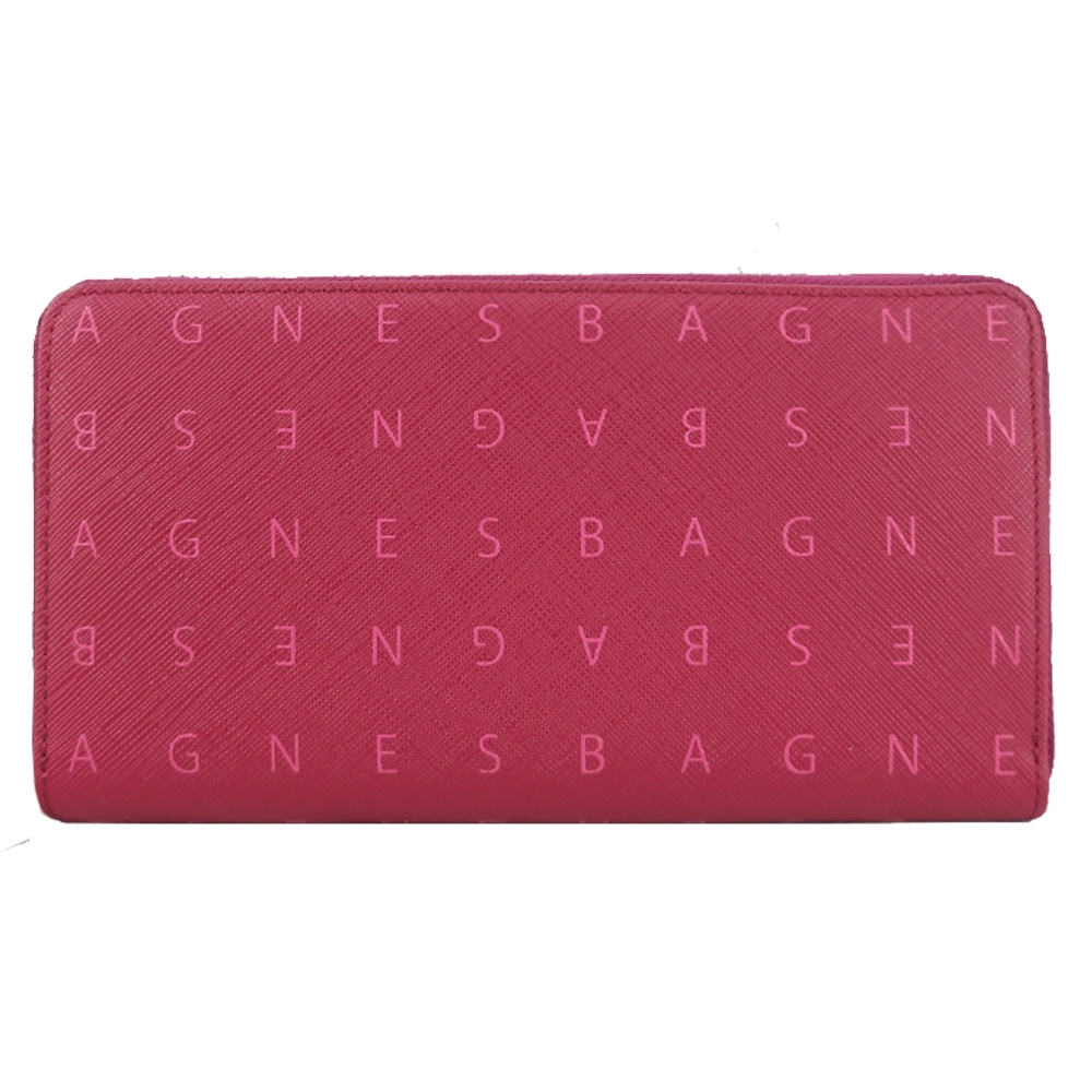 agnes b.滿版字母防刮拉鍊長夾(紅)