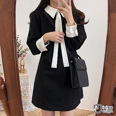 小香風撞色襯衫領短洋裝 二色(贈領口綁帶)-mini嚴選