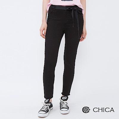 CHICA 黑餅乾甜心綁帶抽鬚直筒褲(1色)