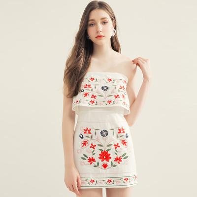 AIR SPACE 花朵刺繡棉麻平口洋裝(白)