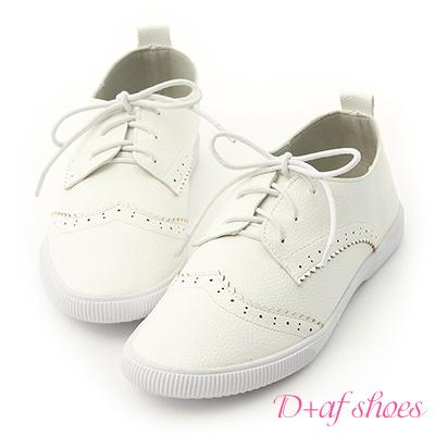 D+AF 流行百搭.雕花綁帶平底小白鞋*白