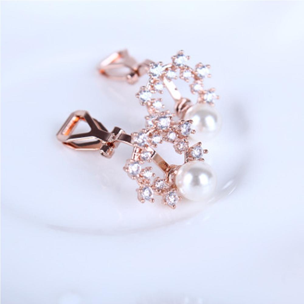 Hera 赫拉 鋯石花環珍珠耳夾(2色)