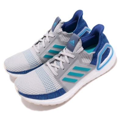 ADIDAS 慢跑鞋 UltraBOOST 19 襪套式 男鞋 愛迪達 路跑 緩震 透氣 BOOST底 灰 藍