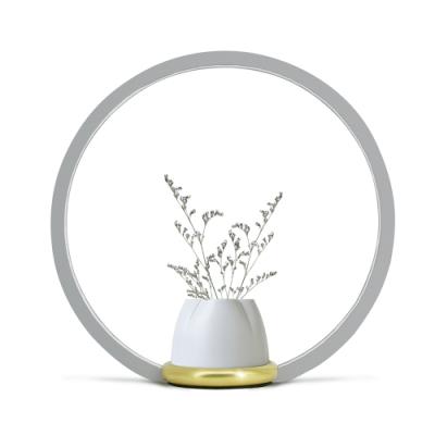 FOOKOO 一抹光景 LED檯燈/烤漆款/灰色/四葉瓶