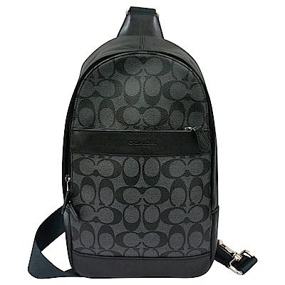 COACH 壓印字母LOGO滿版印花透氣背墊雙側單肩斜背胸掛包(黑灰)