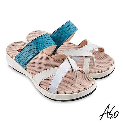 A.S.O機能休閒輕穩健康真皮異材質休閒涼鞋 綠