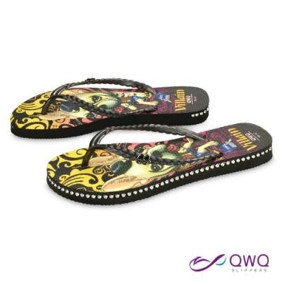 QWQ 女款插圖夾腳人字拖鞋-鞋帶保固-水鑽拖鞋-造型拖鞋-Villain Dog-黑(ADST03105)