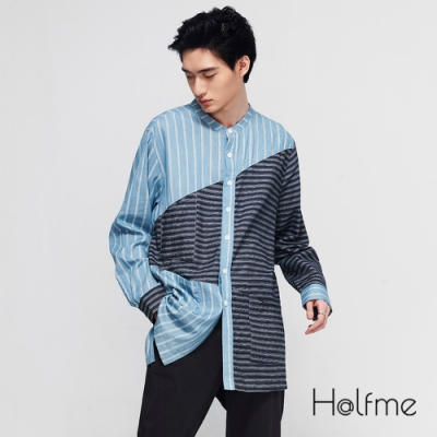 Halfme-雙色拼接長袖襯衫-男
