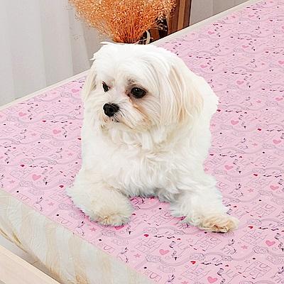 米夢家居-台灣製造-全方位超防水止滑保潔墊/寵物墊75x90cm-粉紅城堡
