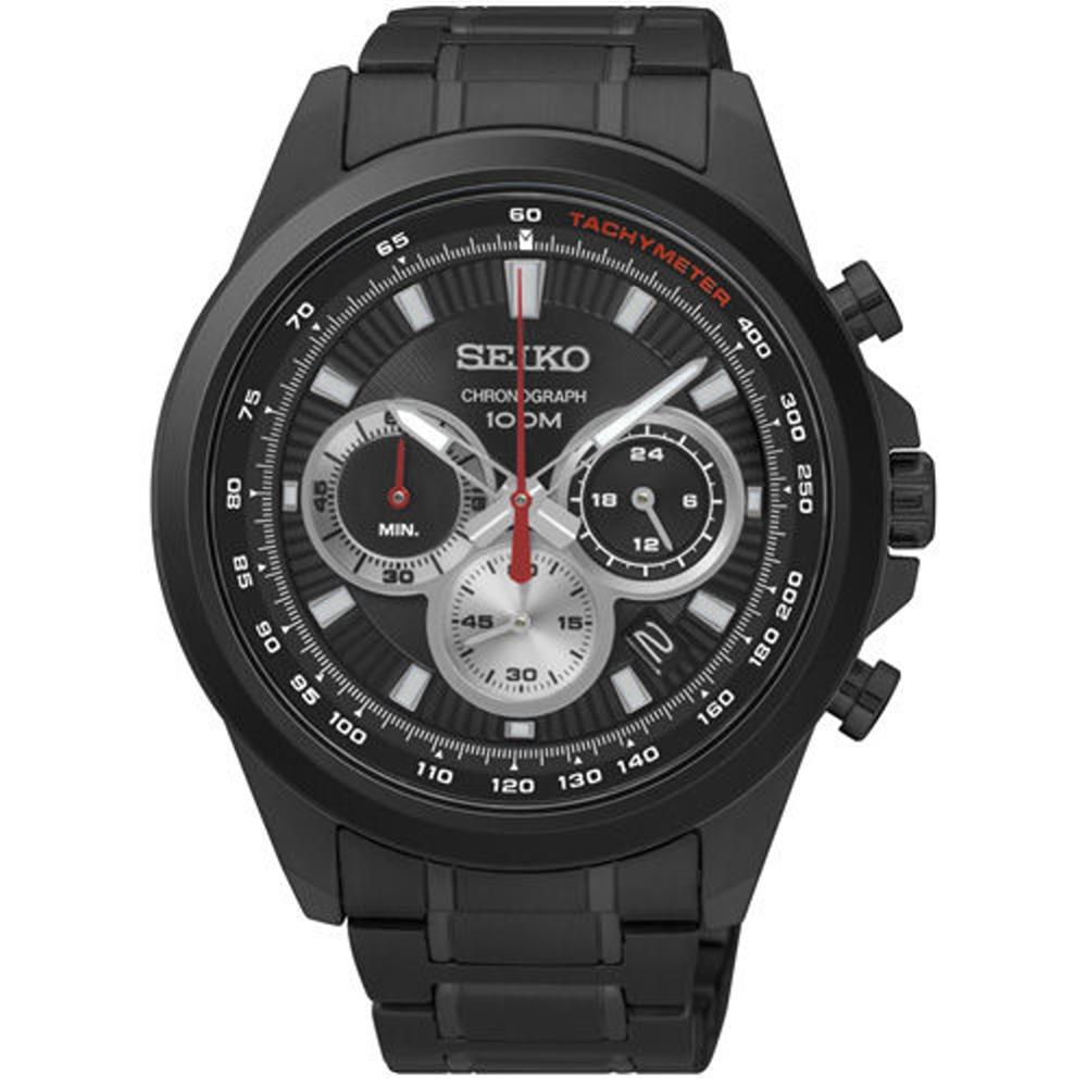SEIKO 品味風格時尚計時腕錶/黑/8T63-00F0SD