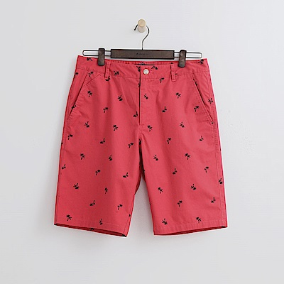 Hang Ten - 男裝 - 休閒滿版印花短褲-橘紅色