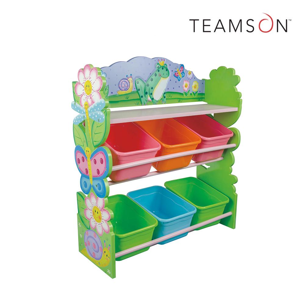 Teamson 魔法花園玩具3層收納架(附6個收納盒)