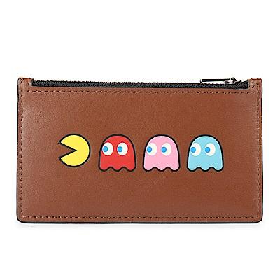 COACH PAC-MAN 小精靈造型皮革證件夾/零錢包-咖啡色