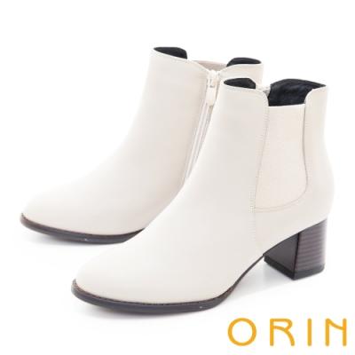 ORIN 經典儁永素面真皮粗跟 女 短靴 白色