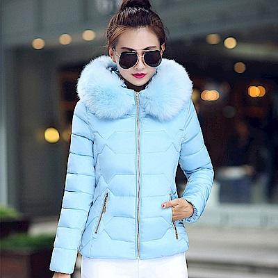 【KISSDIAMOND】大毛領修身顯瘦連帽羽絨棉外套水藍