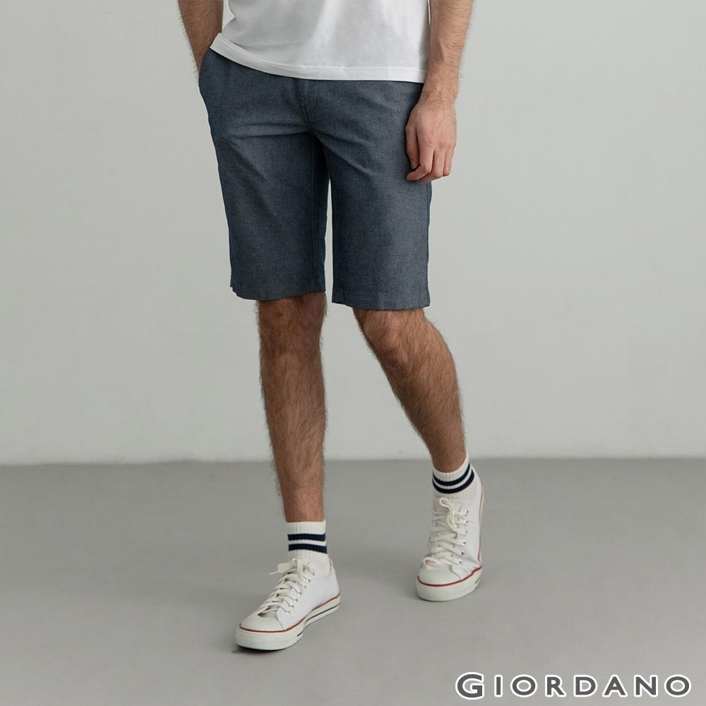 GIORDANO 男裝素色休閒短褲 - 69 條格海軍藍
