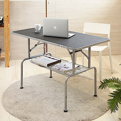 澄境免組裝雙結構收納籃摺疊電腦桌93x55x75.5cm