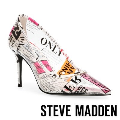 STEVE MADDEN-LILLIE-V 文字印花尖頭高跟鞋-印花白