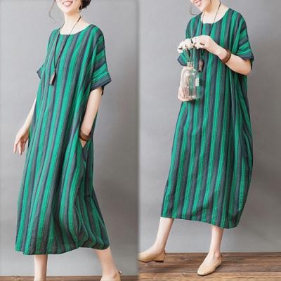 【韓國K.W.】(現貨)條紋簡約清新涼感洋裝(共1色)