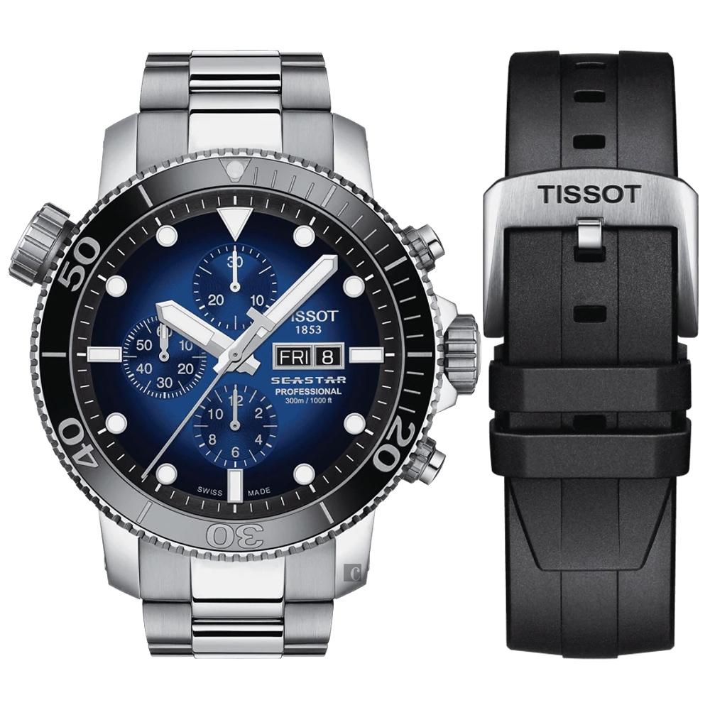 TISSOT天梭 Seastar 限量海洋之星計時潛水機械錶-48mm  T1206141104100