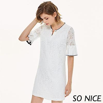 SO NICE優雅蕾絲造型袖洋裝
