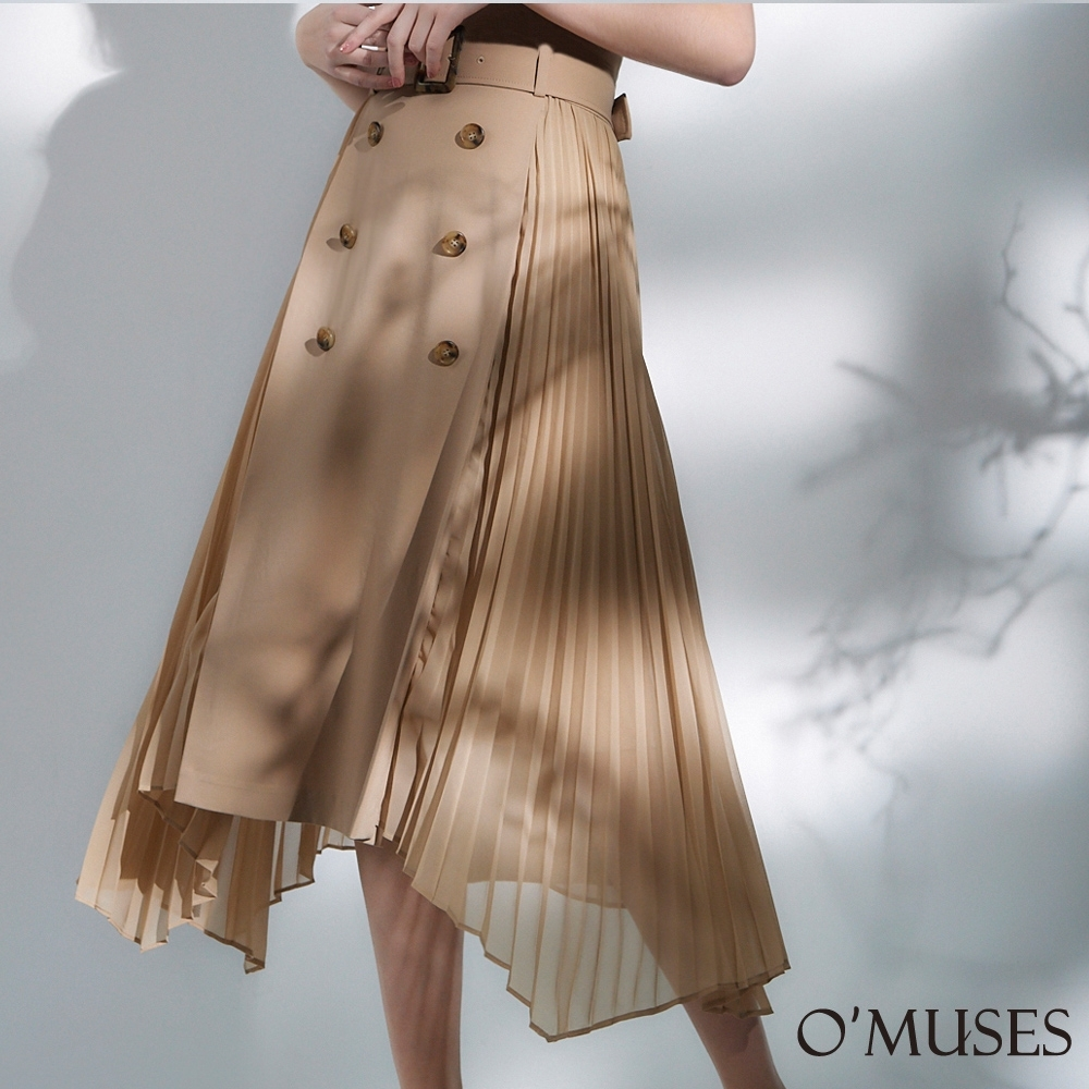 OMUSES 排釦拼接百褶雪紡長裙