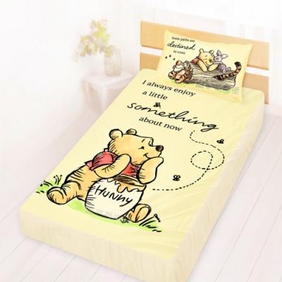 享夢城堡 單人床包枕套3.5x6.2二件組-迪士尼小熊維尼Pooh 蜂蜜小事-米黃.藍