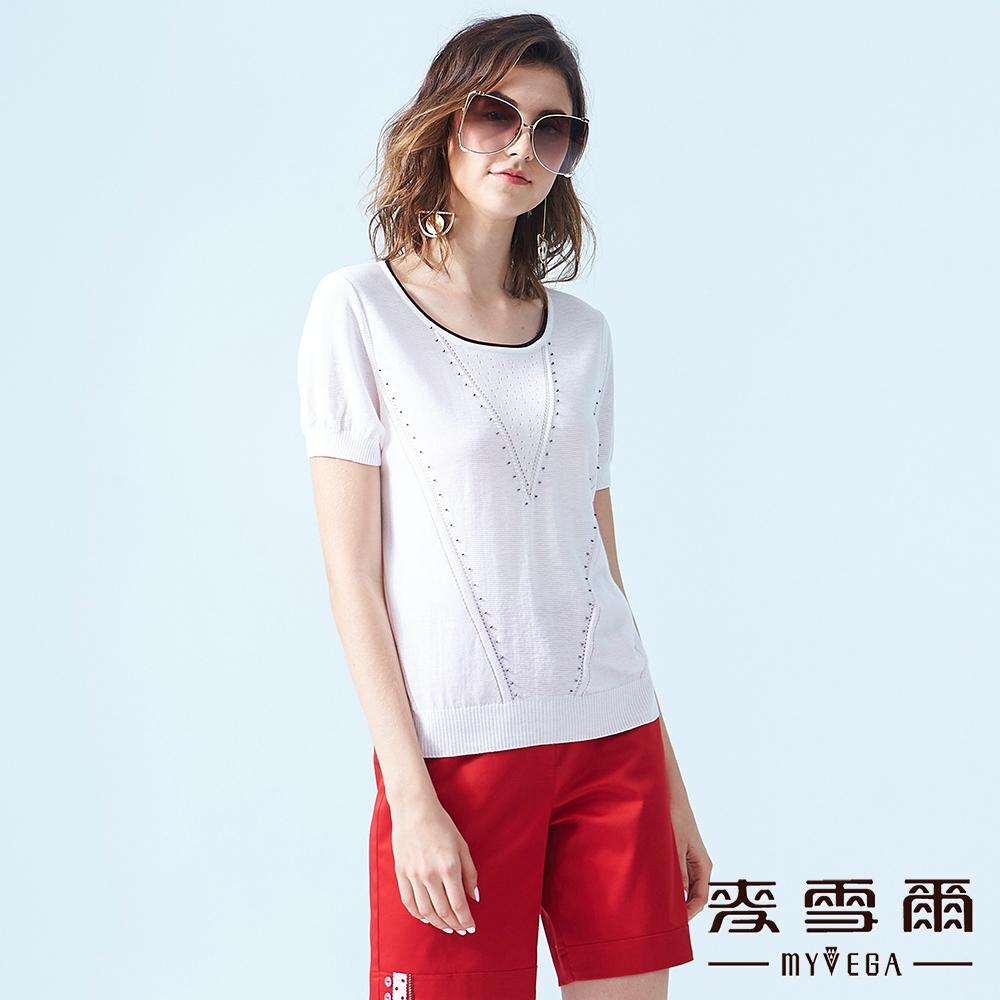 【麥雪爾】織紋變化修身針織衫-白