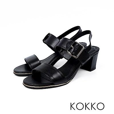 KOKKO- 大勢女孩最愛後帶粗跟涼鞋 - 濃情黑