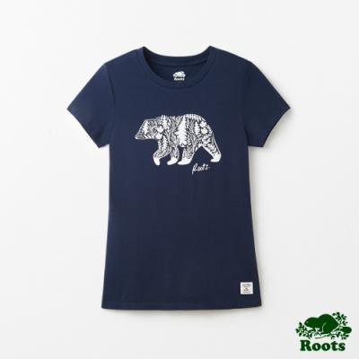女裝Roots- 有機棉拼接動物窄版短袖T恤-藍色