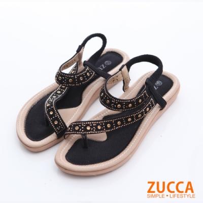 ZUCCA-金屬羅紋T字夾腳涼鞋-黑-z6306bk