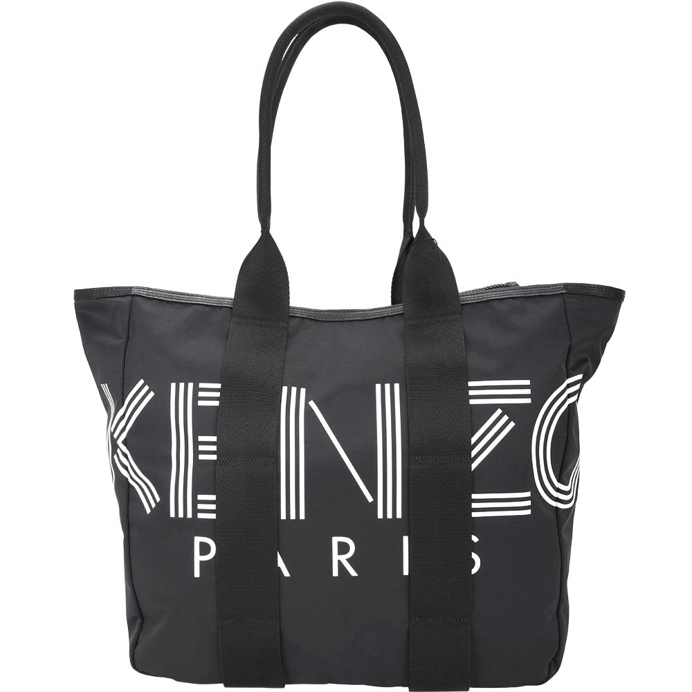 KENZO 品牌幾何尼龍側背拉鍊托特包(黑色)