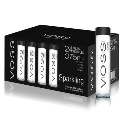 VOSS芙絲 挪威氣泡礦泉水(375mlx24入)-箱購-黑蓋玻璃瓶