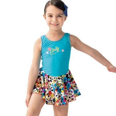 沙兒斯 兒童泳裝 潑墨印染藍色系連身裙式女童泳裝