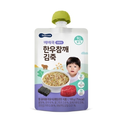 韓國【BEBECOOK】寶膳 嬰幼兒韓牛芝麻海苔粥(100g)