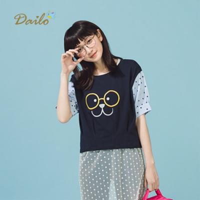 特降【Dailo】眼鏡熊印花短-上衣(二色)