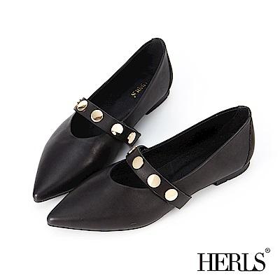 HERLS 美好年代 全真皮金釦橫帶瑪莉珍平底鞋-黑色