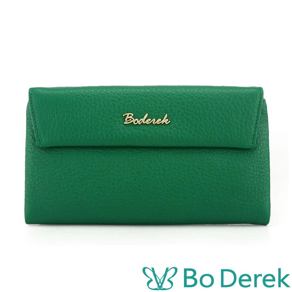 BO DEREK 荔枝紋牛皮三折式長夾(附手腕繩)-綠