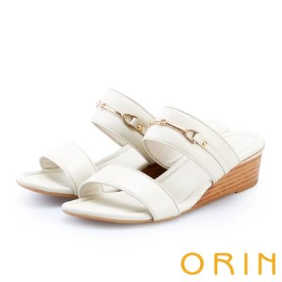 ORIN 優雅牛皮馬銜釦楔型拖鞋 白色