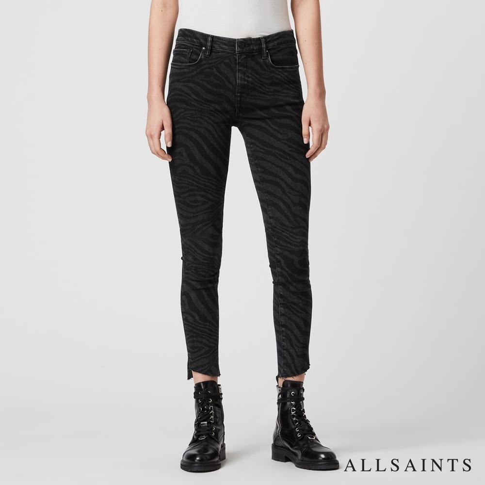 ALLSAINTS GRACE 斑馬紋中腰不收邊九分緊身牛仔褲-黑
