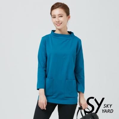【SKY YARD 天空花園】素面立領雙口袋長版上衣-藍色
