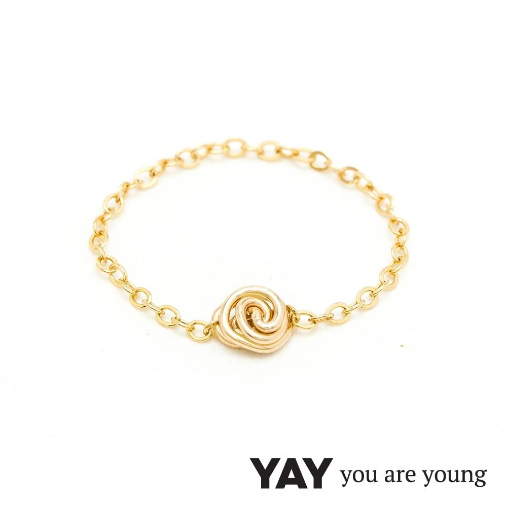 YAY You Are Young 法國品牌 Riviera 巴黎玫瑰鍊戒 金色