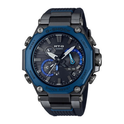 CASIO卡西歐 G-SHOCK 電波 藍牙 太陽能電力 碳纖維核心防護 多邊形錶圈 黑x藍 MTG-B2000B-1A2_51mm