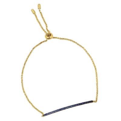 apm MONACO法國精品珠寶 閃耀一字型藍鋯石可調整金色手鍊手環