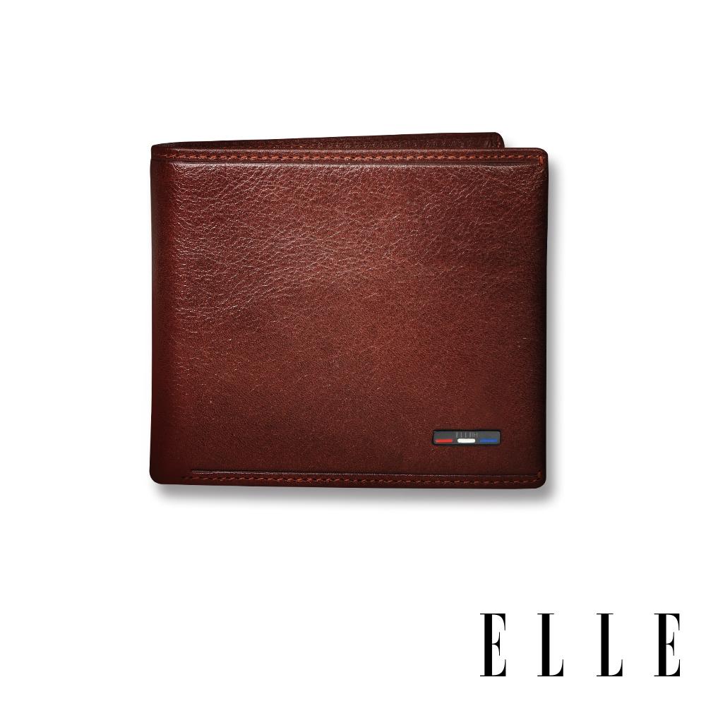 ELLE HOMME 70週年系列-3卡中翻窗格真皮皮夾/短夾/零錢袋- 紳士棕 EL207036