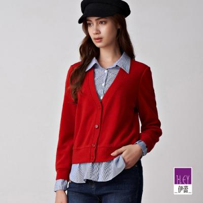 ILEY伊蕾 亮麗假兩件條紋針織上衣(紅)