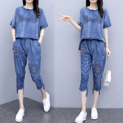 【韓國K.W.】韓時尚幸福典藏刺繡寬鬆顯瘦牛仔套裝