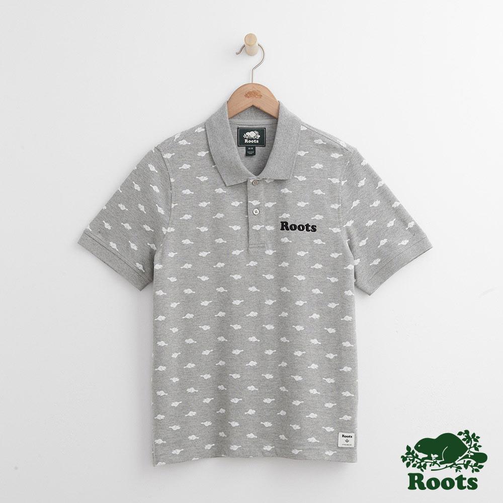Roots 男裝-滿版海狸短袖POLO衫-灰色