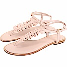 Michael Kors Bella 納帕荷葉造型雙繞繫帶夾腳涼鞋(粉裸色)