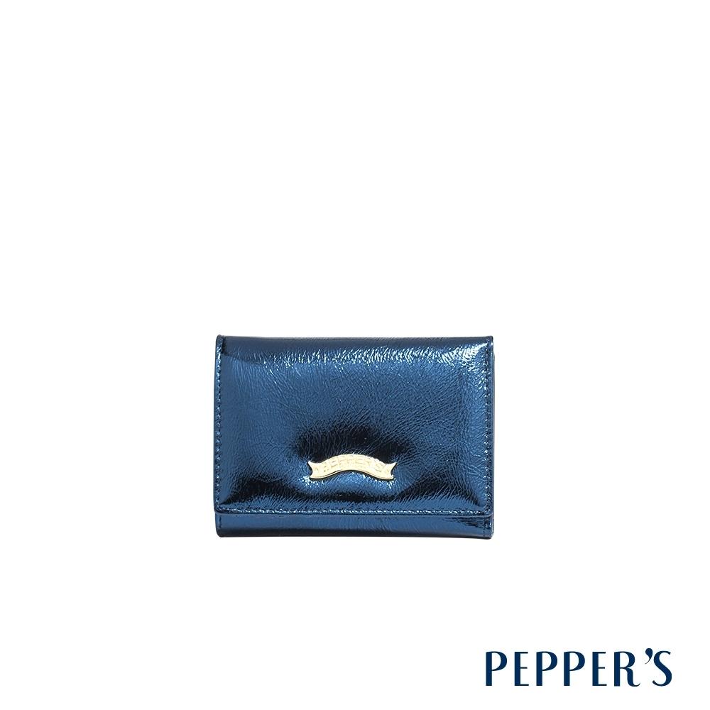 PEPPER'S Gale 牛皮三折短夾 - 炫光藍